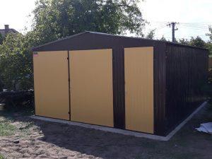 Plechová garáž sedlová strecha 4,5x6 RAL 8017