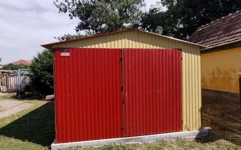 Plechová garáž sedlová strecha 3,5x5 RAL 1002