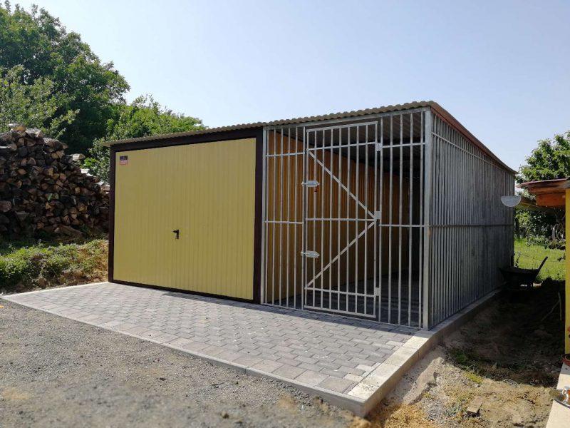 Plechová garáž 3x5 + 2x5 koterec pre psa
